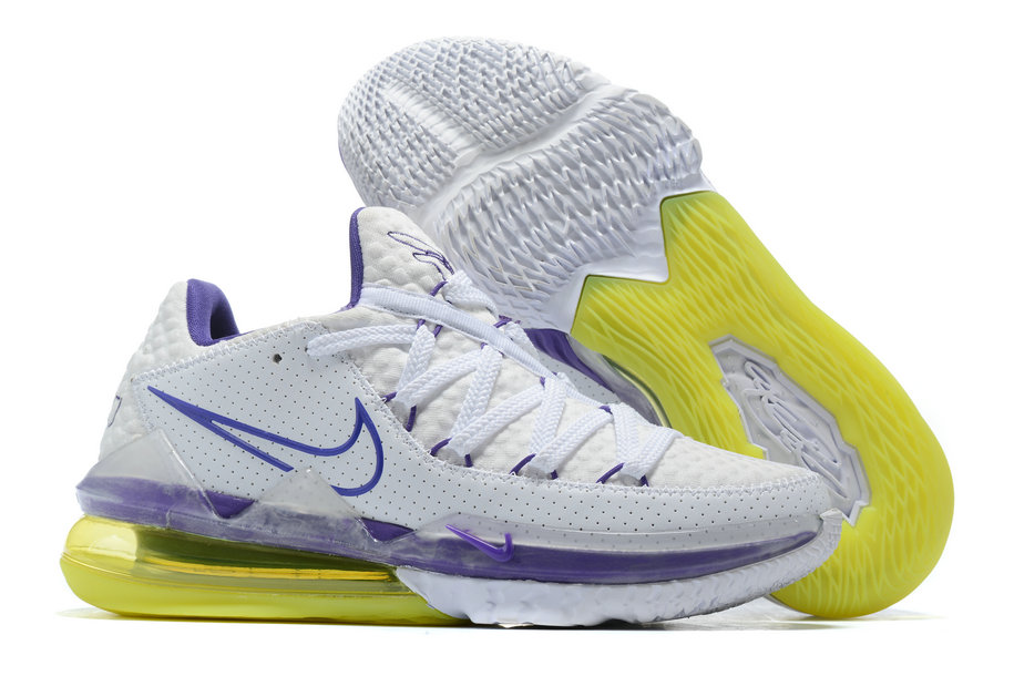 Where To Buy 2020 Cheap Wholesale Nike LeBron 17 Low Lakers Home White Voltage Purple-Dynamic Yellow CD5007-102 - www.wholesaleflyknit.com