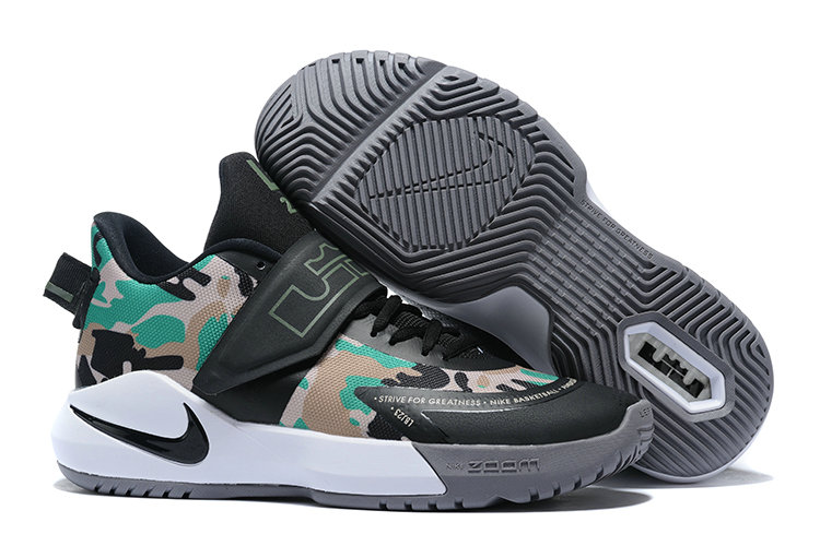 Where To Buy 2020 Cheap Wholesale Nike Lebron Ambassador XII Army Green Black White - www.wholesaleflyknit.com
