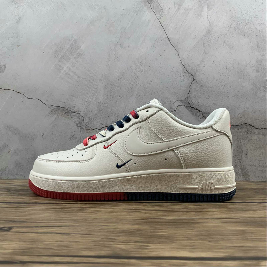Where To Buy 2021 Cheapest Nike Air Force 1 07 SU19 Rice White Red Blue Blanc Rouge Bleu CT1989-102 - www.wholesaleflyknit.com