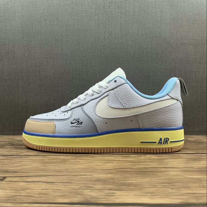 Where To Buy 2022 Cheap Wholesale Nike Air Force 1 Premium Blue Pot Cookies Yellow Brown Shoes CV3039-102 - www.wholesaleflyknit.com