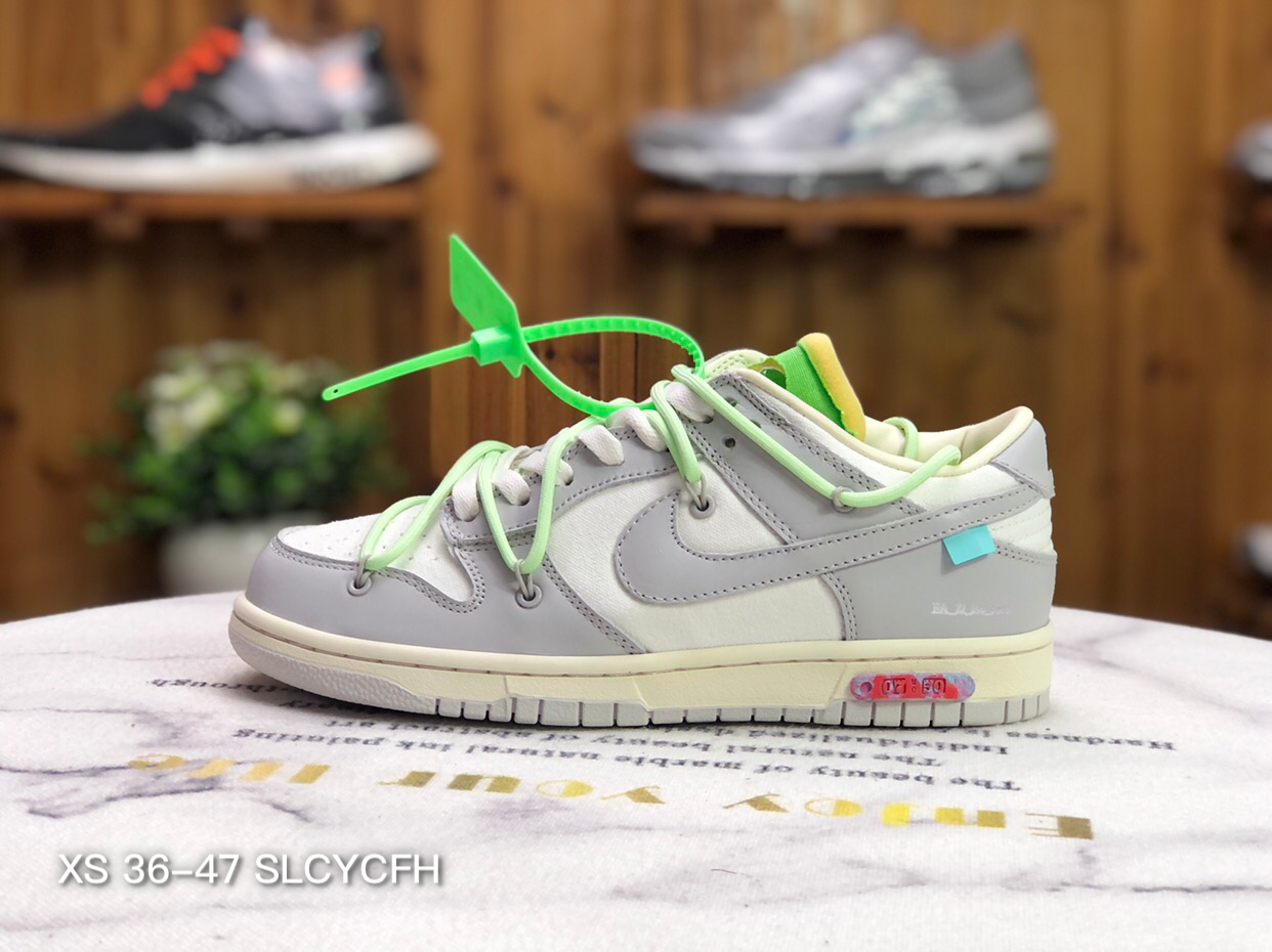 Where To Buy 2022 Cheap Wholesale Off White x Nike SB Dunk Low 10 of 50 White Grey Apple Green Wine DM1602-108 - www.wholesaleflyknit.com