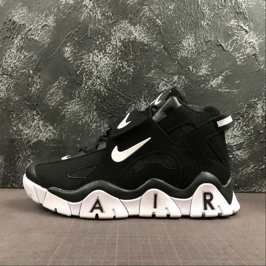 Where To Buy Cheap Wholesale Nike Air Barrage Mid QS Black White CD9329-010 - www.wholesaleflyknit.com