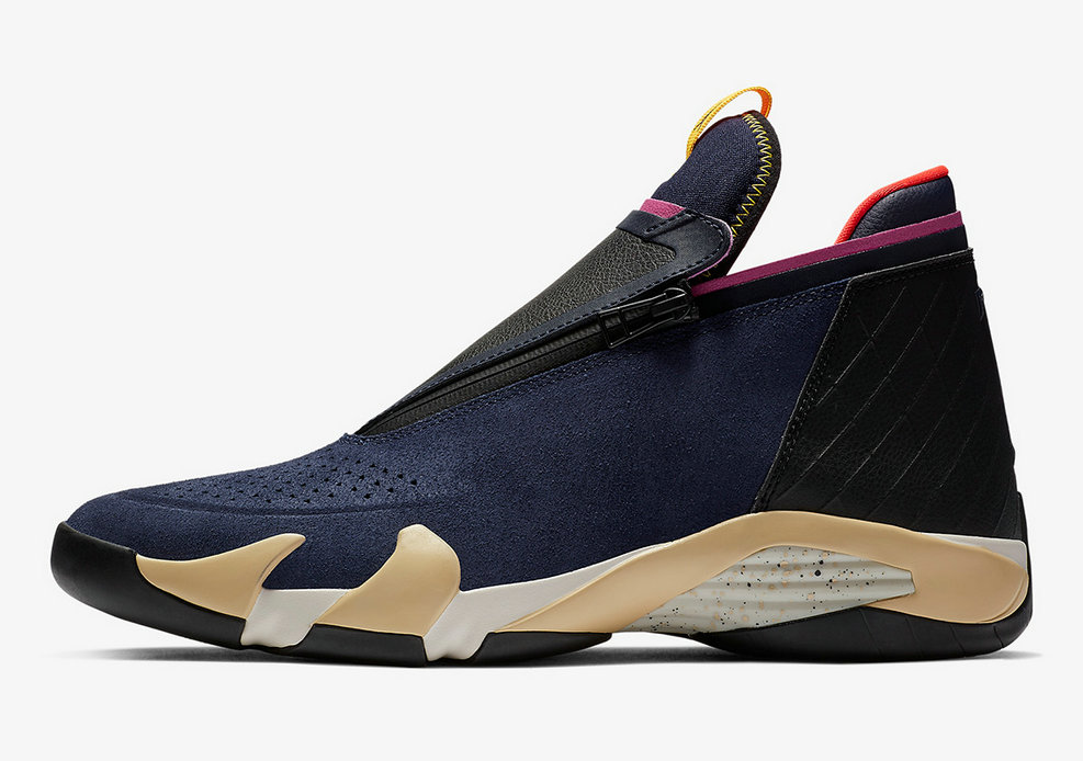 Where To Buy Cheap Wholesale Nike Air Jordan 14 Jumpman Zipper Gold Navy Blue Black Pink - www.wholesaleflyknit.com