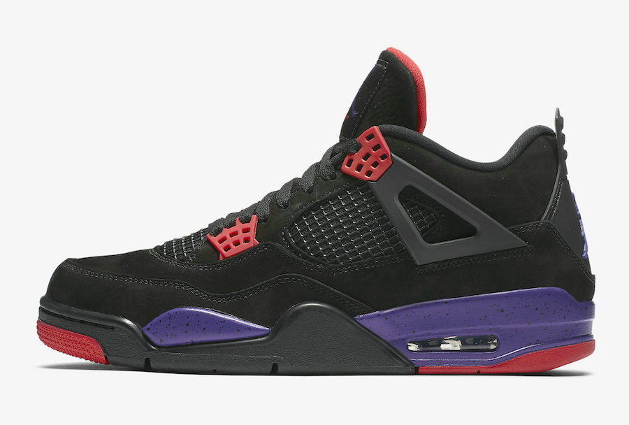 Where To Buy Cheap Wholesale Nike Air Jordan 4 Raptors Black University Red-Court Purple AQ3816-065 - www.wholesaleflyknit.com