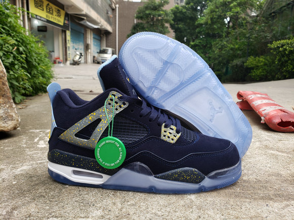 Where To Buy Cheap Wholesale Nike Air Jordan 4 Retro Navy Blue Metallic Gold White - www.wholesaleflyknit.com