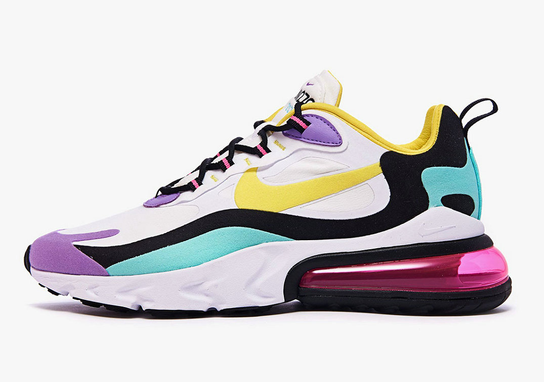 Where To Buy Cheap Wholesale Nike Air Max 270 React Bright Violet White Dynamic Yellow-Black-Bright Violet AO4971-101 - www.wholesaleflyknit.com
