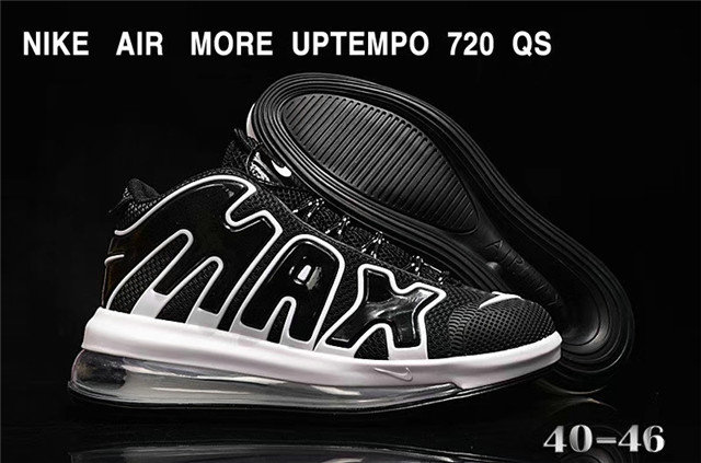 Where To Buy Cheap Wholesale Nike Air More Uptempo 720 QS Cushioning Basketball Shoes Black White - www.wholesaleflyknit.com