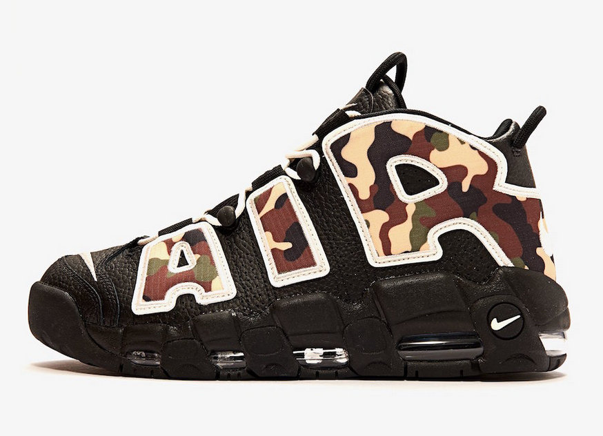 Where To Buy Wholesale Cheap Nike Air More Uptempo QS Black Camo Sail-Light British Tan CJ6122-001 - www.wholesaleflyknit.com