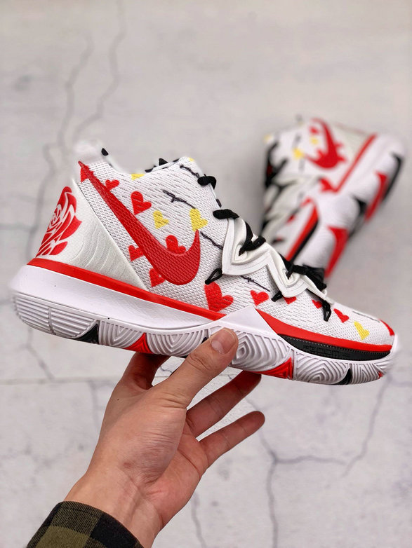 Where To Buy Cheap Wholesale Nike Kyrie 5 EP White Red Black Blanc Rouge Noir AO2919-106 - www.wholesaleflyknit.com