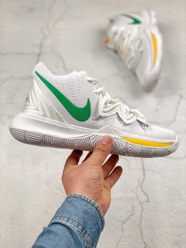 Where To Buy Cheap Wholesale Nike Kyrie 5 EP White Yellow Blanc Jaune AO2919-116 - www.wholesaleflyknit.com