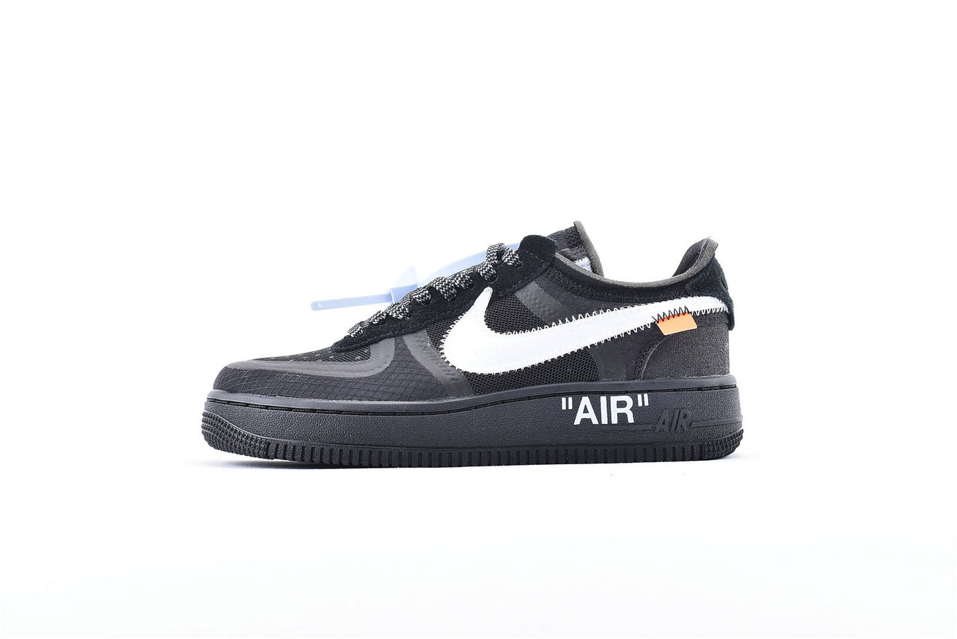 Where To Buy Wholesale Cheap Off-White x Nike Air Force 1 Low Black-White-Cone-Black AO4606-001 - www.wholesaleflyknit.com