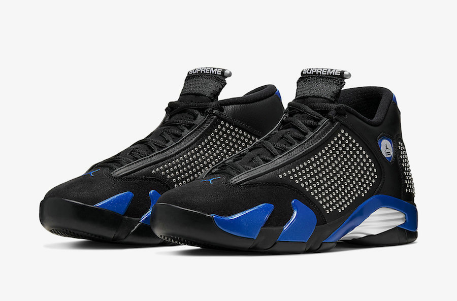 Where To Buy Wholesale Cheap Supreme x Nike Air Jordan 14 Black Varsity Royal-Chrome BV7630-004 - www.wholesaleflyknit.com