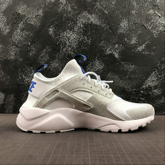 Where To Buy Cheap Wholesale Womens Nike Air Huarache Run Ultra White Loyal Blue Silver Blanc Argent 847567-014 - www.wholesaleflyknit.com