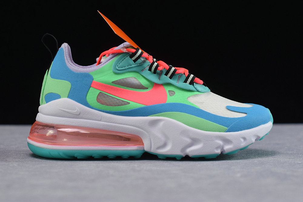 Where To Buy Cheap Wholesale Womens Nike Air Max 270 React Electro Green Flash Crimson-Blue Lagoon AT6174-300 - www.wholesaleflyknit.com