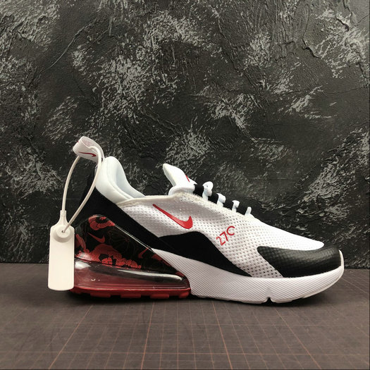 Where To Buy Cheap Wholesale Womens Nike Air Max 270 White Black Red Blanc Noir Red AR0499-106 - www.wholesaleflyknit.com
