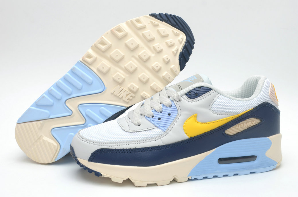 Where To Buy Cheap Wholesale Womens Nike Air Maxs 90 Blue Sky Yellow White - www.wholesaleflyknit.com