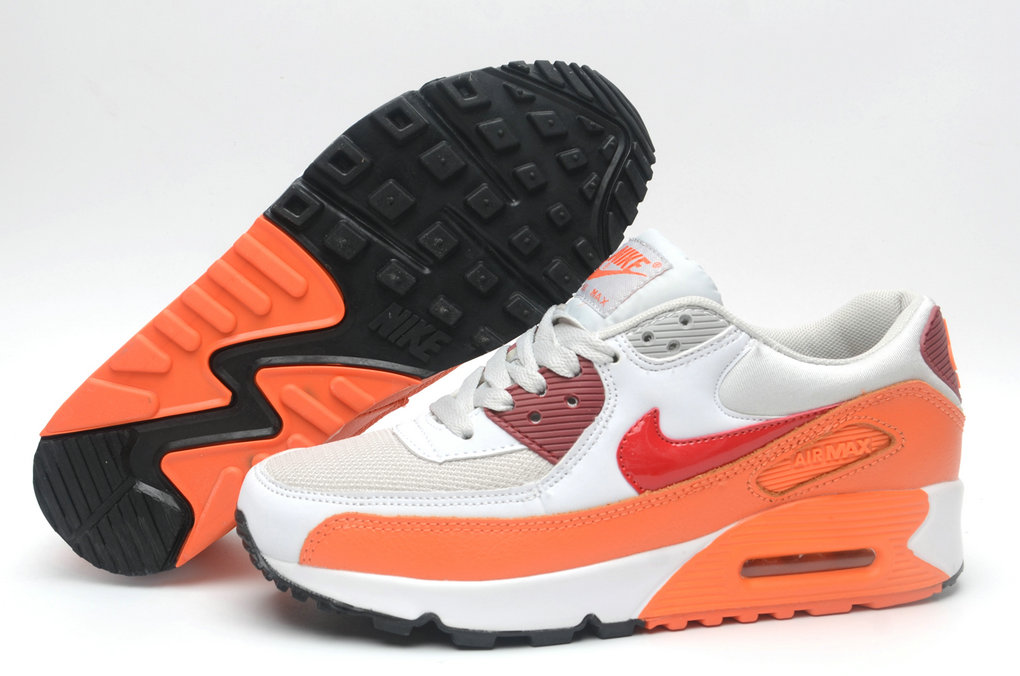 Where To Buy Cheap Wholesale Womens Nike Air Maxs 90 White Orange Red Black - www.wholesaleflyknit.com