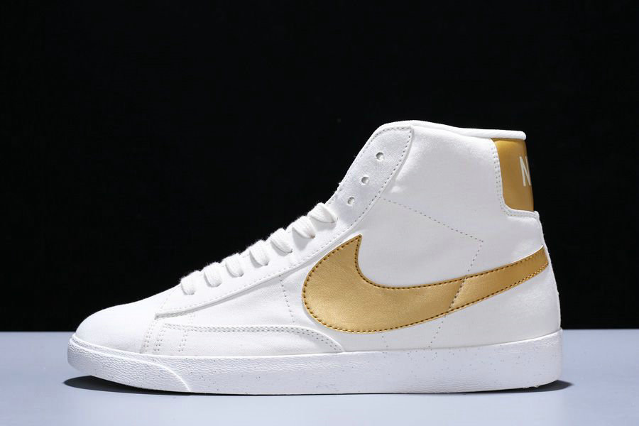 Where To Buy Cheap Wholesale Womens Nike Blazer Mid PRM VNTG Ivory White Tuhao Gold CD8233-103 - www.wholesaleflyknit.com