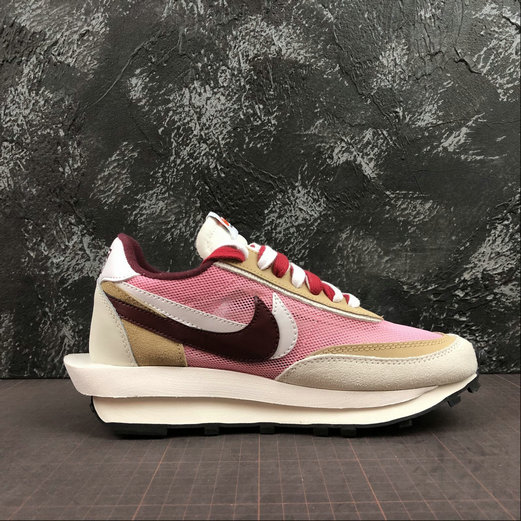 Where To Buy Cheap Wholesale Womens Nike LdWaffle Sacai White Grey LT.Pink Blanc Gris LT.Rose BV0073-500 - www.wholesaleflyknit.com