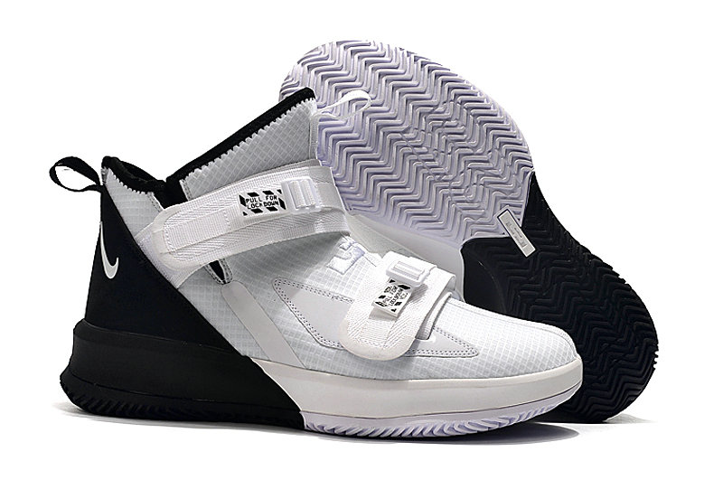 Where To Buy Cheap Wholesale Womens Nike Lebrons Soldier 13 White Black - www.wholesaleflyknit.com