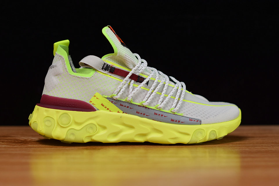 Where To Buy Cheap Wholesale Womens Nike React WR ISPA Pure Platinum Team Red-Volt Glow CT2692-002 - www.wholesaleflyknit.com
