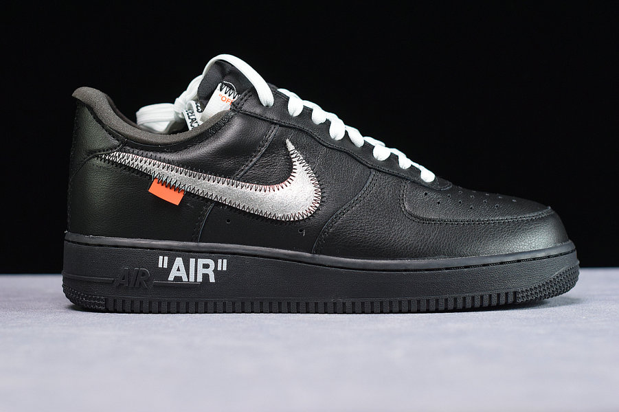 Where To Buy Cheap Wholesale Womens Off-White x Nike Air Force 1 07 Black Metallic Silver Black Noir Argent Metallique AV5210-001 - www.wholesaleflyknit.com