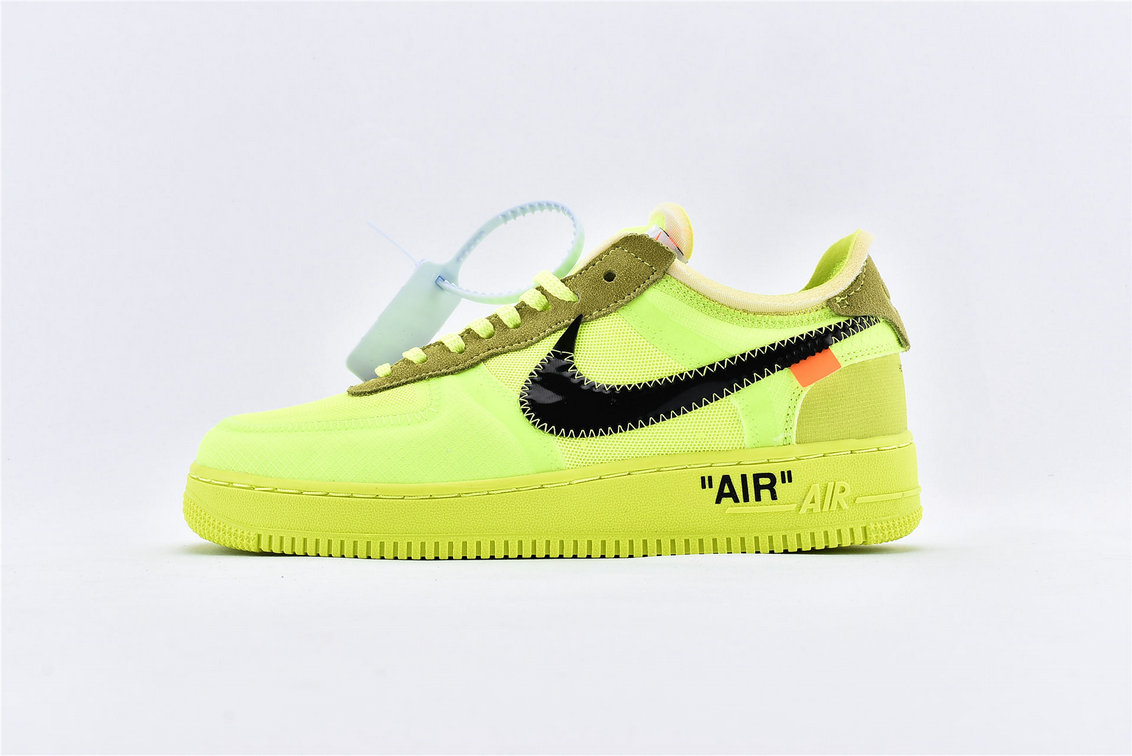 Where To Buy Wholesale Cheap Womens Off-White x Nike Air Force 1 Low Volt Black-Volt-Cone AO4606-700 - www.wholesaleflyknit.com