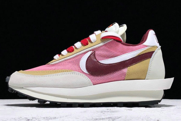 Where To Buy Cheap Wholesale Womens Sacai x Nike LVD Waffle Daybreak Swoosh Pink Gery White Red BV0073-500 - www.wholesaleflyknit.com