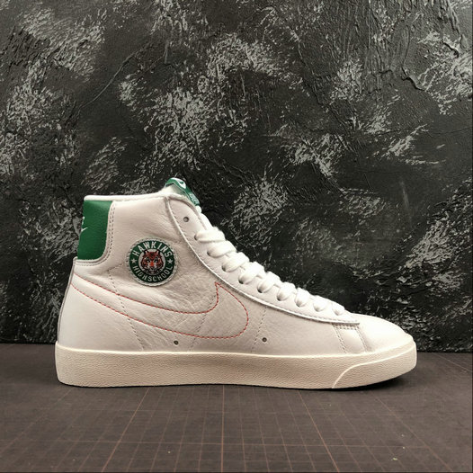 Where To Buy Cheap Wholesale Womens Stranger Things x Nike Blazer Mid Hawkins High White Green Two-Tone Blanc Vert CJ6106-100 - www.wholesaleflyknit.com