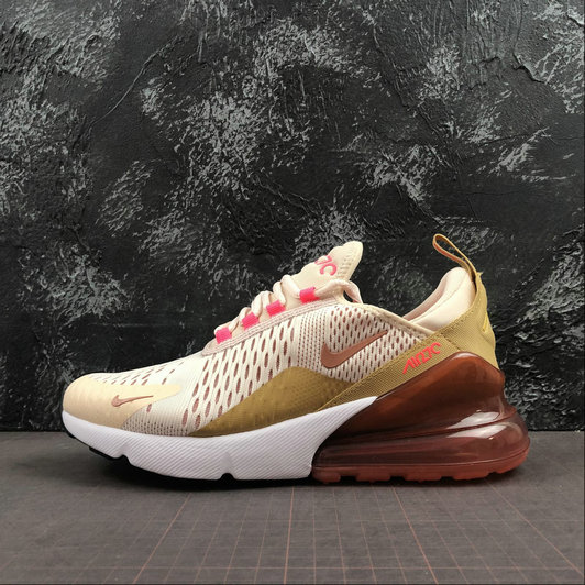 Womens 2019 Wholesale Cheap Nike Air Max 270 Running Shoes Guava Ice Wheat Pink AH6789-801 - www.wholesaleflyknit.com