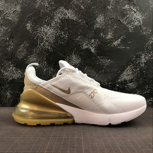 Womens 2019 Wholesale Cheap Nike Air Max 270 White Gold Blanc OR CD8497-019 - www.wholesaleflyknit.com
