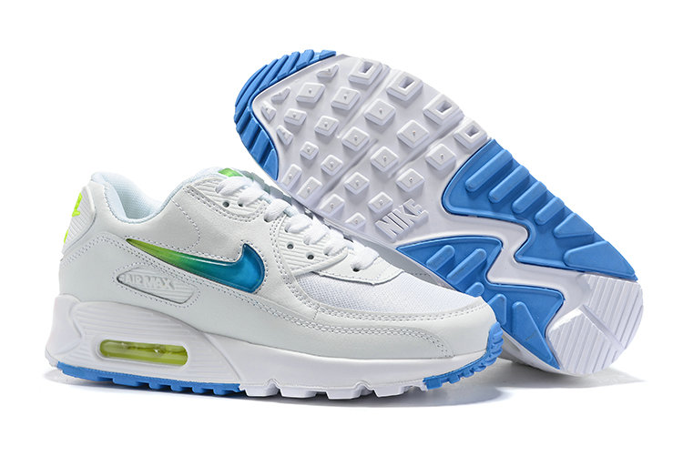 Womens 2019 Wholesale Cheap Nike Air Max 90 Blue Green White - www.wholesaleflyknit.com