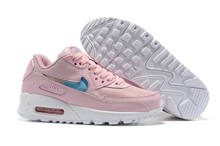 Womens 2019 Wholesale Cheap Nike Air Max 90 Pink Blue White - www.wholesaleflyknit.com