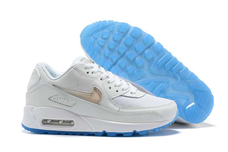 Womens 2019 Wholesale Cheap Nike Air Max 90 Rose Gold White Blue - www.wholesaleflyknit.com