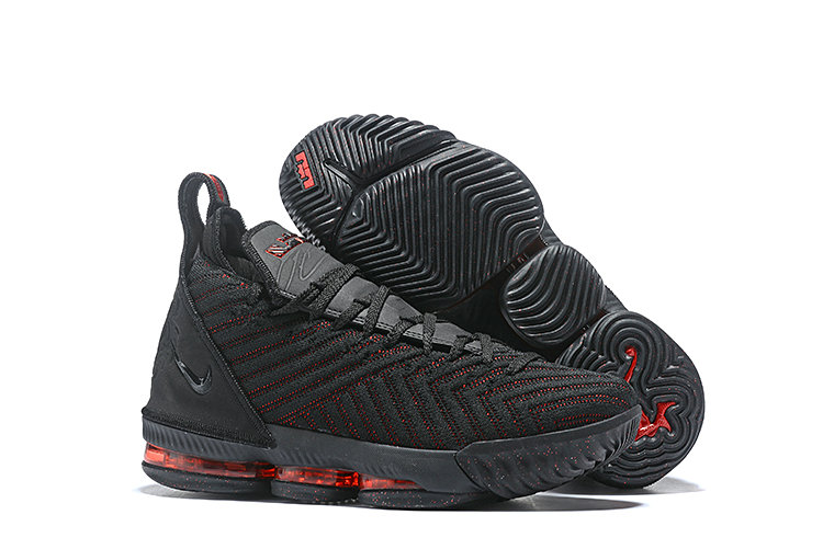 Womens 2019 Wholesale Cheap Nike LeBron 16 Fresh Bred Black University Red AO2588-002 - www.wholesaleflyknit.com