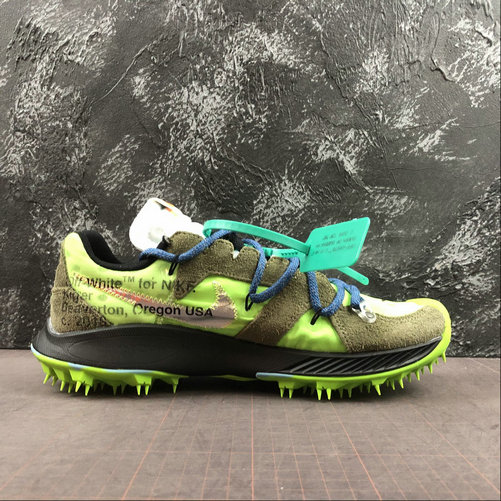 Womens 2019 Wholesale Cheap Off-White x Nike Zoom Terra Kiger 5 Electric Green Metallic Silver Vert Electrique CD8179-100 - www.wholesaleflyknit.com