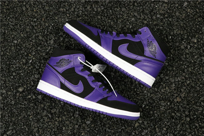 Womens Cheapest Wholesale Nike Air Jordan 1 Mid Purple Black 554724-051 - www.wholesaleflyknit.com