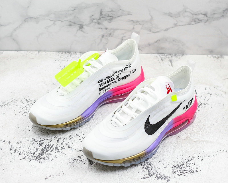 Womens Cheap Wholesale Nike OFF WHITE x Wholesale Nike Air Max 97 Mens Running Shoes White Pink Black Gold- www.wholesaleflyknit.com
