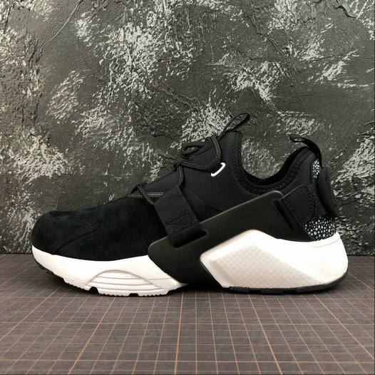 Cheap Wholesale Womens NIKE AIR HUARACHE CITY LOW AO3140-003 Black Wolf Grey White Noir Gris Loup - www.wholesaleflyknit.com