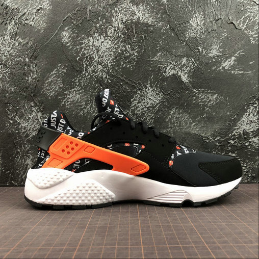 Cheap Wholesale Womens Nike Air Huarache Run PRM Just Do It AT5017-001 Black Total Orange White Noir Blanc Orange Total - www.wholesaleflyknit.com