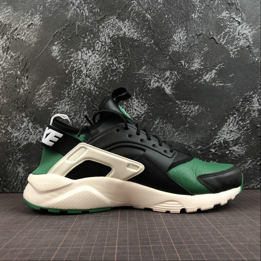 Cheap Wholesale Womens Nike Air Huarache Run ULTRA 875842-003 Black Green White Noir Vert Blanc - www.wholesaleflyknit.com