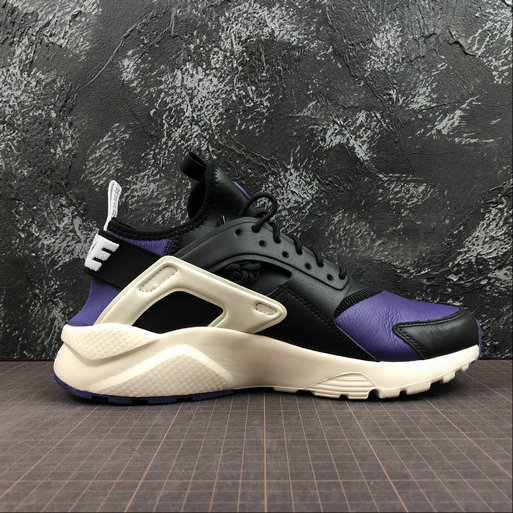 Cheap Wholesale Womens Nike Air Huarache Run ULTRA 875842-302Black Purple White Noir Violet Blanc - www.wholesaleflyknit.com
