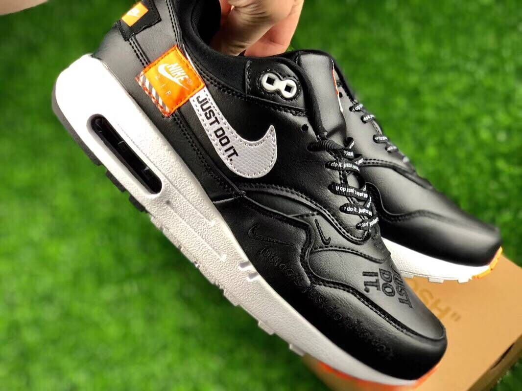 Womens Nike Air Max 1 87 Just Do it Black White Orange - www.wholesaleflyknit.com