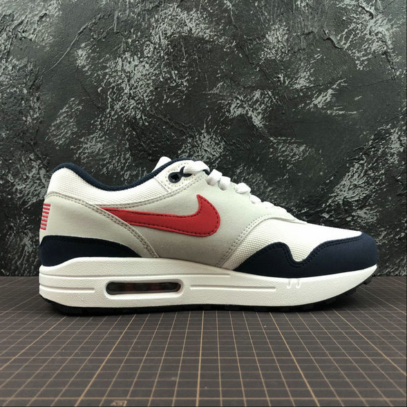 Womens Wholesale Nike Air Max 1 875844-006 WHT VRSTY RED MN NAVY LTZENGY BLA RPRO NAVY GRICLA- www.wholesaleflyknit.com