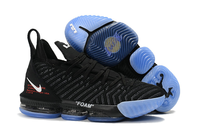 Womens Wholesale Nike Lebrons 16 Cheap Black Blue On www.wholesaleoffwhite.com