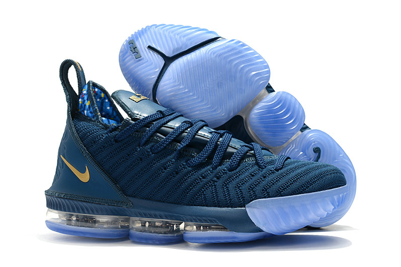 Womens Wholesale Nike Lebrons 16 Cheap Navy Blue Gold- www.wholesaleflyknit.com