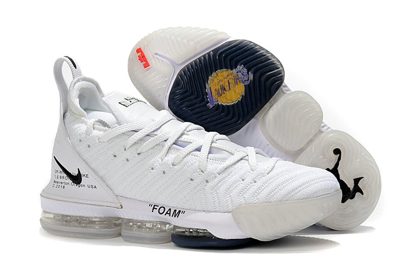 Womens Wholesale Nike Lebrons 16 Cheap White Black On www.wholesaleoffwhite.com