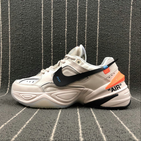 Womens Wholesale Nike M2K Tekno x Off White AO3108-001 Matte Silver Fantome Gris Petrole On www.wholesaleoffwhite.com