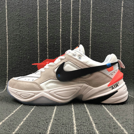 Womens Wholesale Nike M2K Tekno x Off White AO3108-058 Beige White Blanc On www.wholesaleoffwhite.com