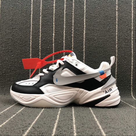 Womens Wholesale Nike M2K Tekno x Off White AO3108-062 Black White Grey Noir Blanc Gris On www.wholesaleoffwhite.com